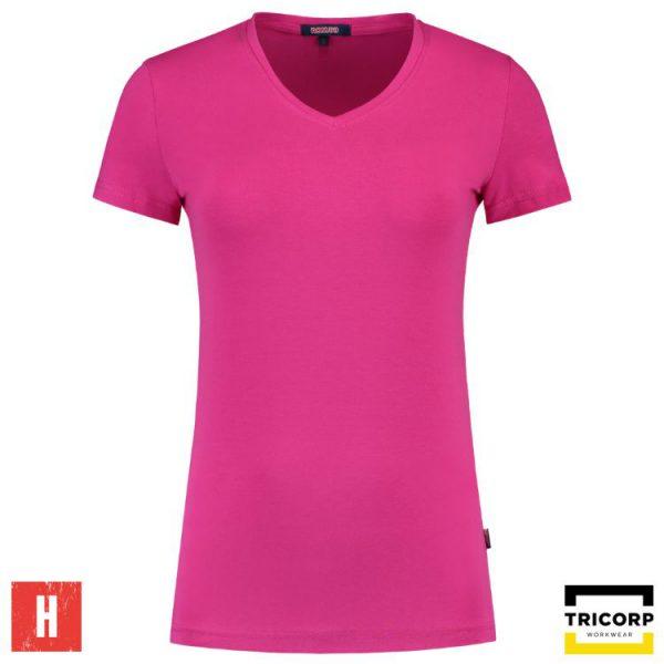 Tricorp T shirt V Hals Dames Slim Fit Wit 101008   T shirts